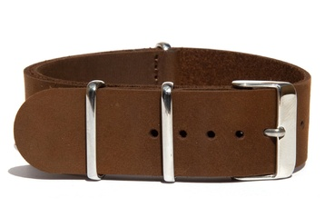 Matte Brown Leather NATO Strap
