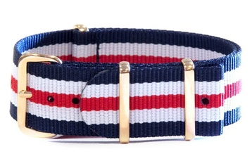 Daniel Wellington Style NATO - Navy, White & Red with Rose Gold hardware