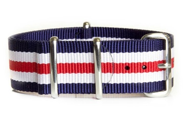 Navy, White and Red watch strap