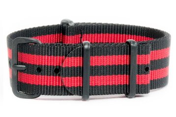 Black & Red Striped NATO Strap - Black PVD Hardware