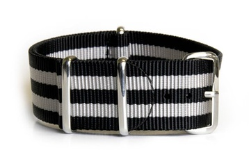 NATO Regimental Strap Black and Silver - James Bond