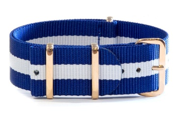 NATO Regimental Strap Blue and White with Rose Gold hardware