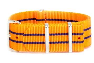 Vibrant orange watch strap with navy stripes