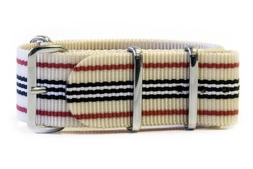 Beige with Red, Navy and White stripes